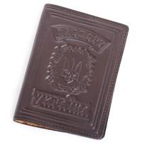 """Кожаная обложка для паспорта (коричневый) тиснение """"ПАСПОРТ УКРАЇНА"""""""