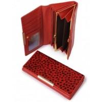 Оригинальное кожанное портмоне Podium B-60058-red leo