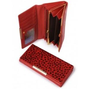 Оригинальное кожаное портмоне Podium B-60058-red leo, женское