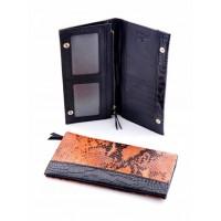 Классное кожанное портмоне Podium 820L Orange