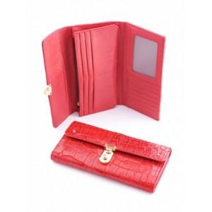 Своеобразный кожаный кошелек Podium 3004L Red женский