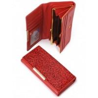 Самобытное кожанное портмоне Podium B-60059-red leo
