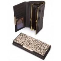 Прикольный кошелек из натуральной кожи Podium B-60059-brown leo