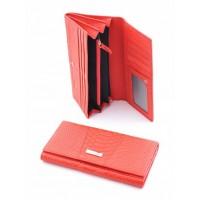 Блестящее портмоне из натуральной кожи Podium 812L Red