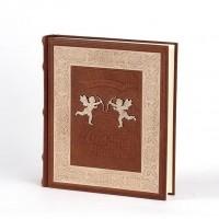 Свадебный альбом с кожаным переплетом и декоративной вставкой №020-10-01-12