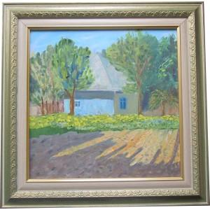 Картина «Домик в деревне» маслом на холсте, 2013