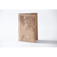Женская обложка для паспорта с декоративной гравировкой 009-10-01-13