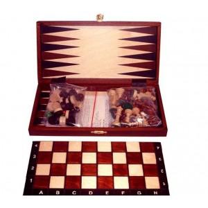 Шахматы 2069 туристические+Шашки+Нарды махагон