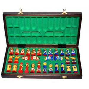 Деревянные шахматы 3137 Матрешки, коричневые