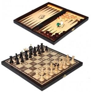 Деревянные шахматы + нарды 318003 средние, коричневые