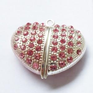 Оригинальная флешка в форме сердца, Swarovski в форме розы