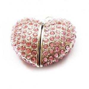 Оригинальная флешка в форме сердца, цвет розовый, Swarovski в форме розы