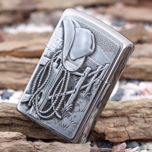 Бензиновая зажигалка Zippo 24879 COWBOY HAT AND ROPE EMBLEM BRUSHED CHROME