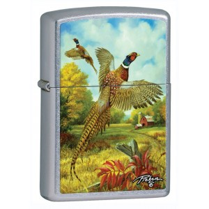 Бензиновая зажигалка Zippo 28010 LINDA PICKEN FLYING PHEASANTS STREET CHROME