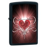 Бензиновая зажигалка Zippo 28043 LOVE HEART BLACK MATTE