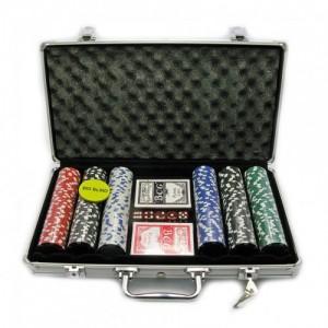 Набор для игры в покер на 300 керамических фишек с номиналом