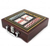 Набор для игры в покер в деревянной коробке на 100 фишек с номиналом