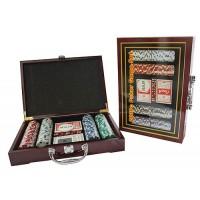 Набор для игры в покер в деревянной коробке на 200 фишек с номиналом