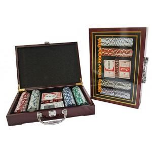 Набор для игры в покер в деревянной коробке на 200 керамических фишек с номиналом