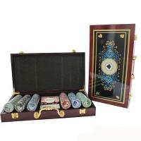 Набор для игры в покер в деревянной коробке на 300 фишек с номиналом