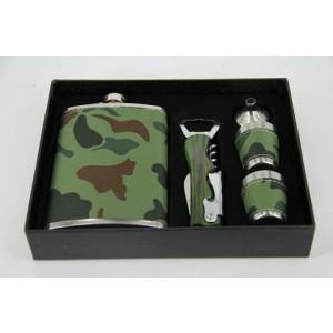 Фляга, набор с флягой 8 унций + 2стакана+ лейка+ ручка+ открывача (камуфляж)
