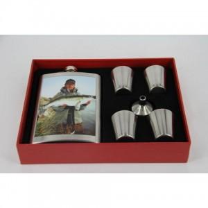 Фляга, набор с флягой 8 унций + 4 стакана+ лейка(судак)