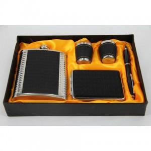 Фляга, набор с флягой 8 унций + 2стакана+ портсигар+ ручка(черный)