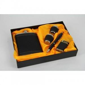 Фляга, набор с флягой 8 унций + 2стакана+ зажигалка+ ручка(черный)