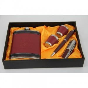 Фляга, набор с флягой 8 унций + 2стакана+ ручка+ нож перочинный(красный)