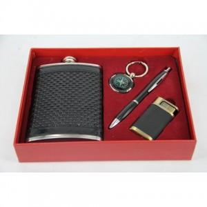 Фляга, набор с флягой 8 унций+ брелок+ зажигалка+ ручка
