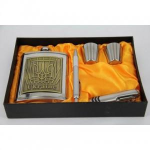 Фляга, набор с флягой 8 унций + 2 стакана+ ножперочинный+ ручка (ГербУкраины)