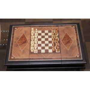 Шахматы. Доска в форме ларца из массива ясеня. Фигуры орех, клен