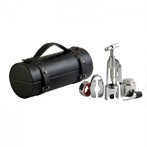 Винный набор в черном кожаном футляре 5 предметов