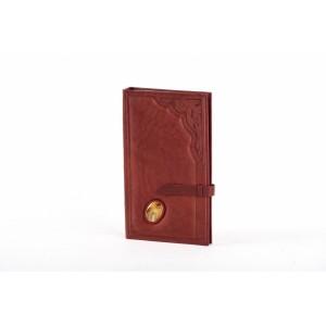 Настольная кожаная визитница на 160 карточек с художественной вставкой
