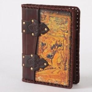 Ежедневник (блокнот), кожаная обложка с художественной вставкой