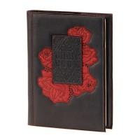 Блокнот (ежедневник), кожаная обложка с художественной вставкой