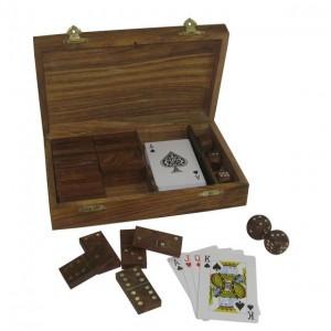 Карты,  кубики, домино вдеревянном футляре