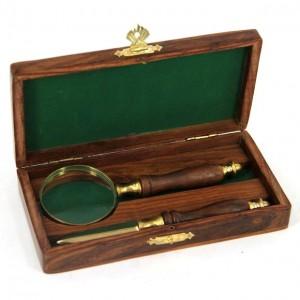 Набор канцелярский: лупа  +  нож для конвертов в деревянном футляре