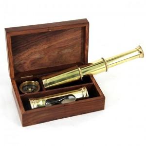 Научный набор  (подзорная труба + компас + часы песочные)