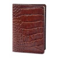 Обложка на паспорт кожа (аллигатор коричневый)