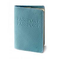 "Паспорт обложка (бирюзовый) тиснение ""ПАСПОРТ+PASSPORT"""